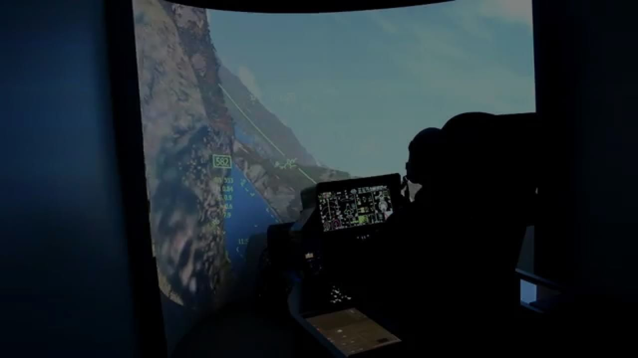 F-35 simulator fighter jet cockpit - 5th generation and