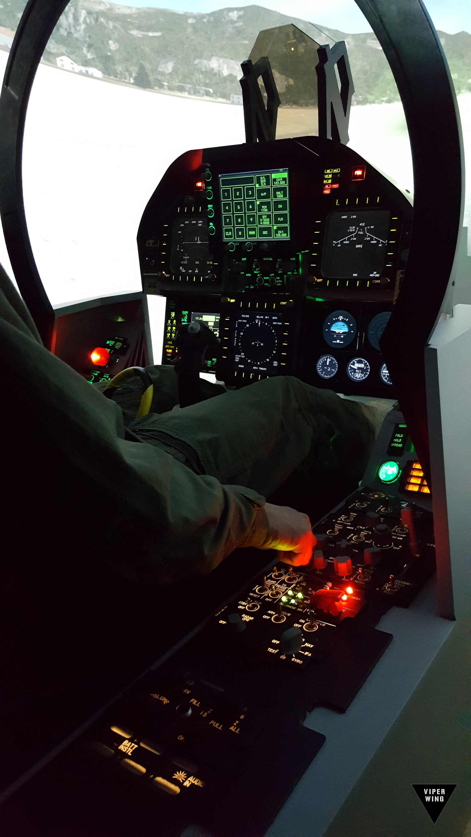 F-18, F/A-18 simulator fighter jet cockpit - all physical Hornet sim