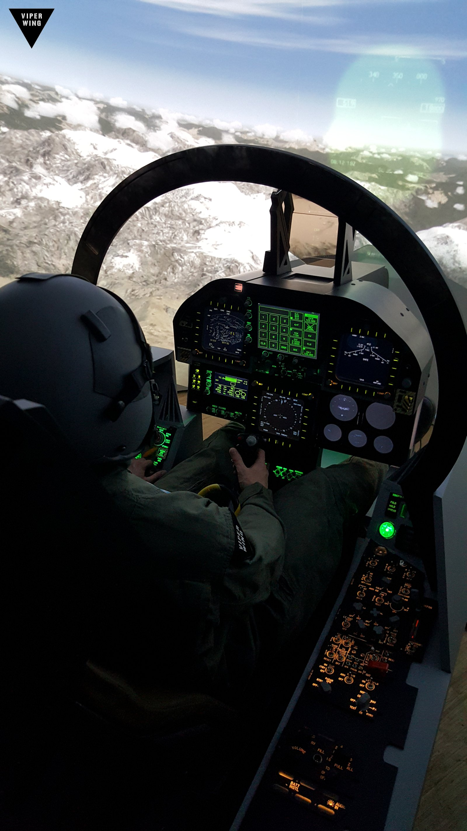 F-18, F/A-18 simulator fighter jet cockpit - all physical