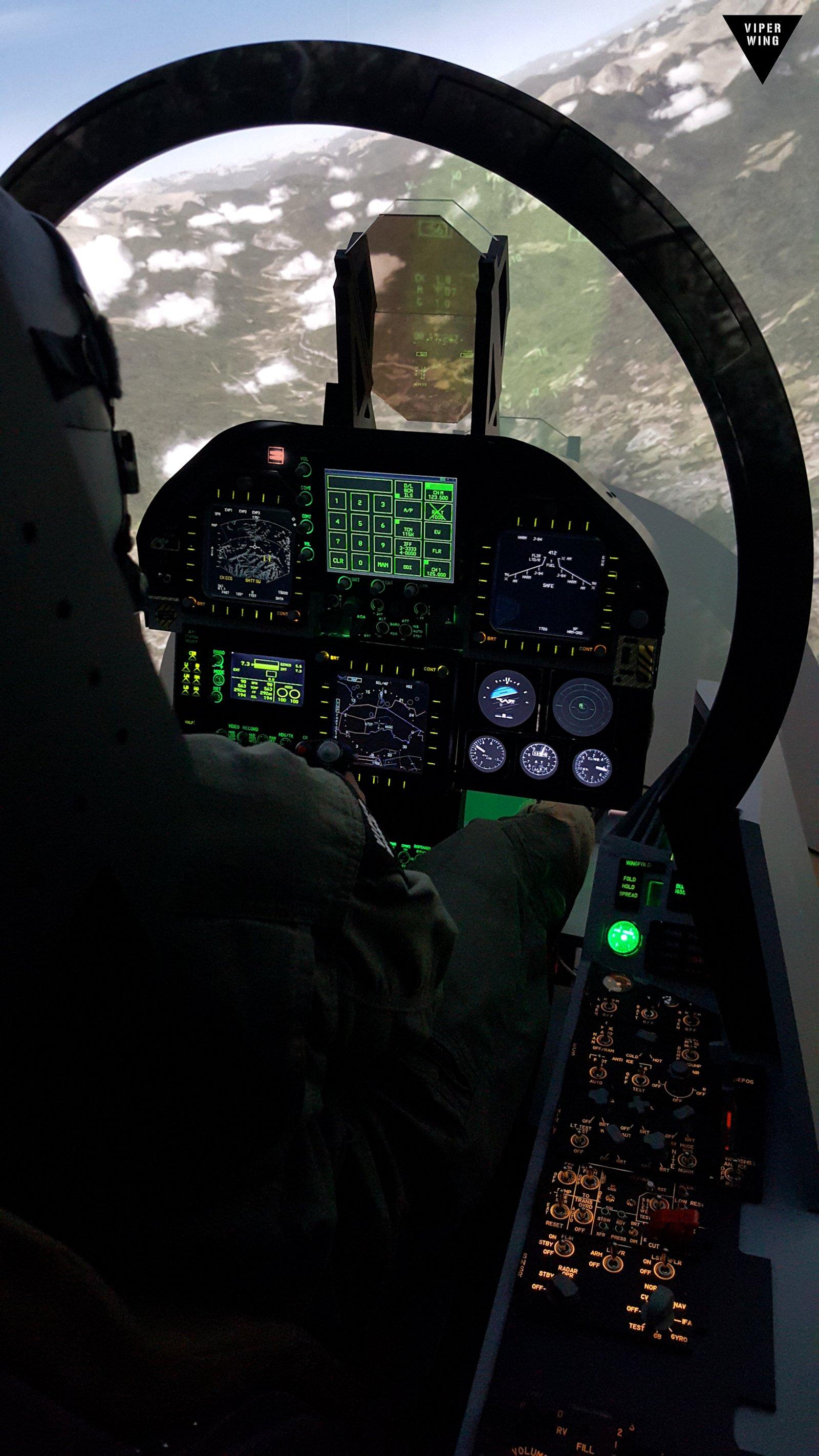 F-18, F/A-18 simulator fighter jet cockpit - all physical Hornet sim